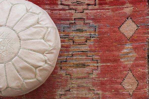 Nude Pink Leather Pouf