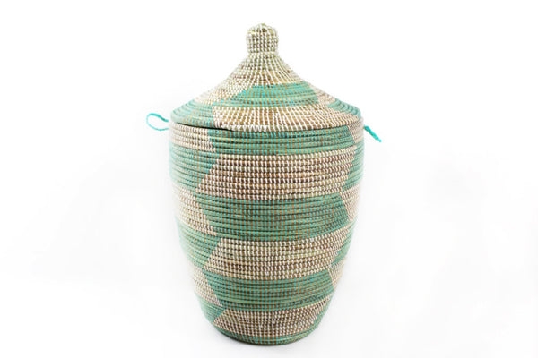 Aqua & White Senegal Basket
