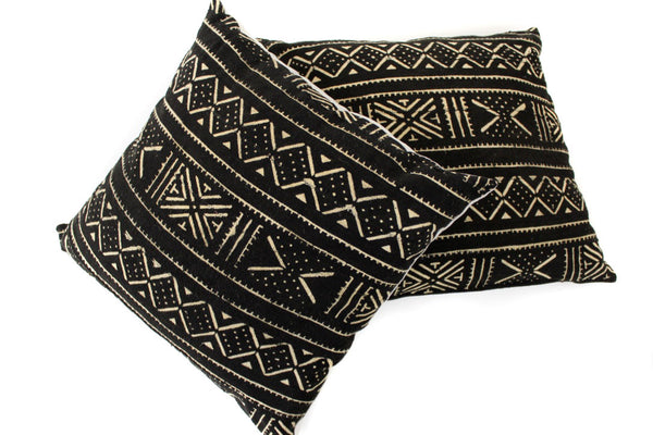 Black Mud Cloth Eurosham Set - ON SALE