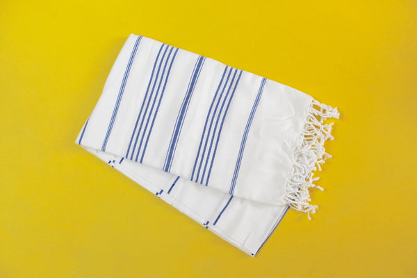 White & Blue Turkish Towel