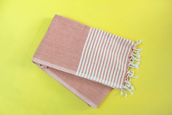 Stripe Peach Turkish Towel