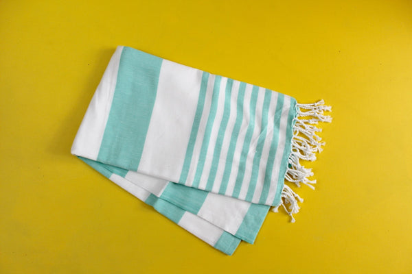Aqua Striped Turkish Towel