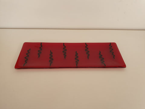 Shallow Rectangular Plate - 130 - Electric - Red Ink