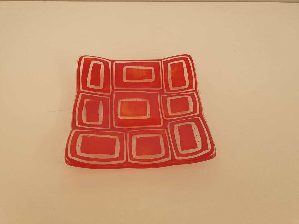 Flared Square Plate - 150 - Stacks - Red Opal