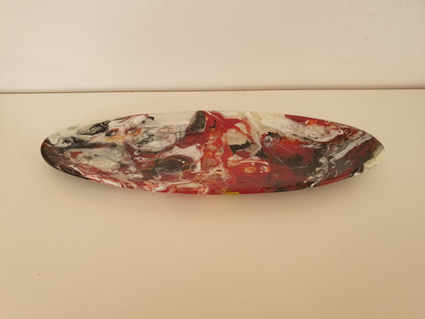 Long Oval Dish - Chaos - Red Trio - M208