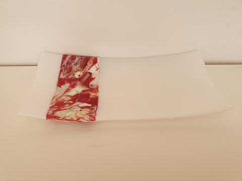 Flared Rectangular Plate - Melt Feature - Strawberry Snow