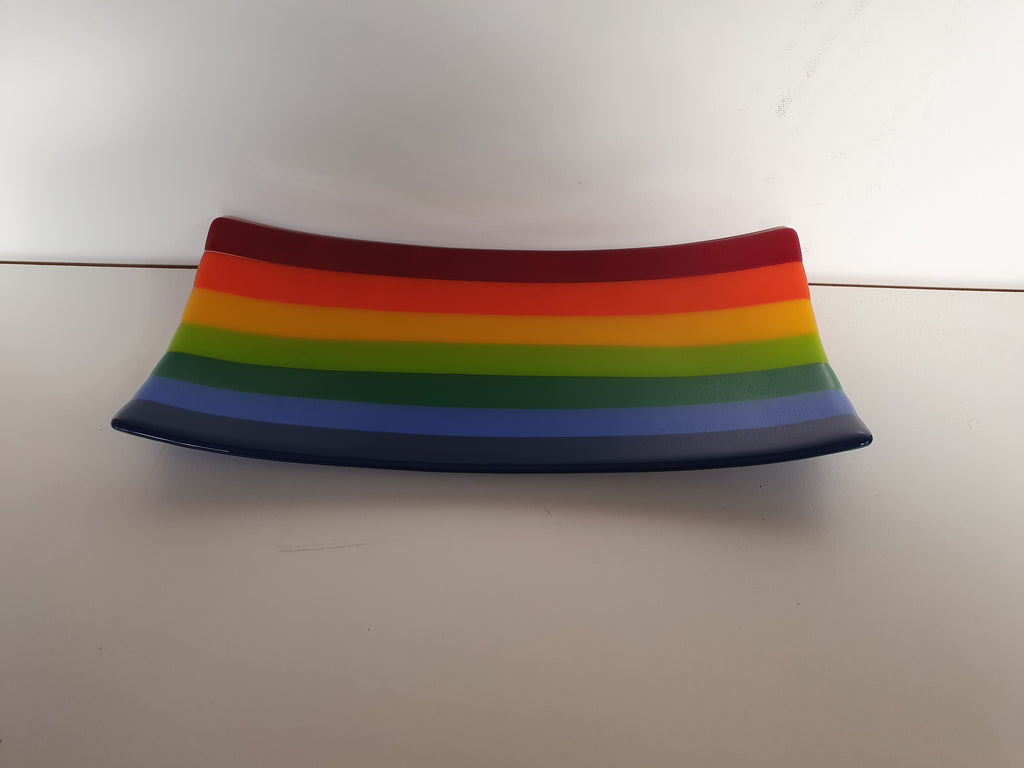 Flared Rectangular Plate - Stripey - KXIII