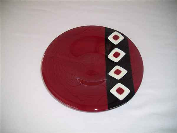Classic Bowl - 215 - Twin Diamond Peaks - Deep Red Trio