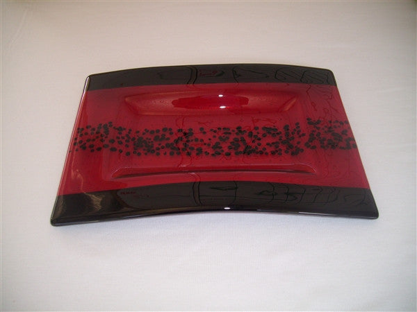 Convex Rectangular Plate - Bands & Sprinkles - Red Ink