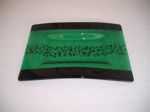 Convex Rectangular Plate - Bands & Sprinkles - Emerald Ink