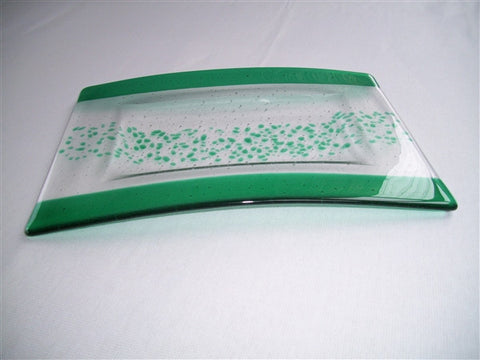 Convex Rectangular Plate - Bands & Sprinkles - Pure Emerald