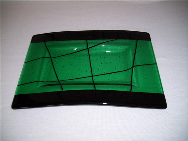 Convex Rectangular Plate - Bands & Stix - Emerald Ink