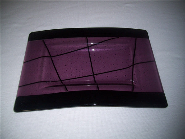Convex Rectangular Plate - Bands & Stix - Light Violet Ink