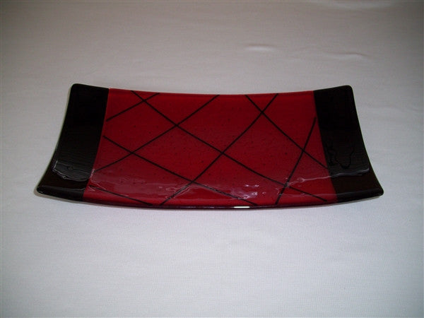 Flared Rectangular Plate - Bands & Stix - Red Ink