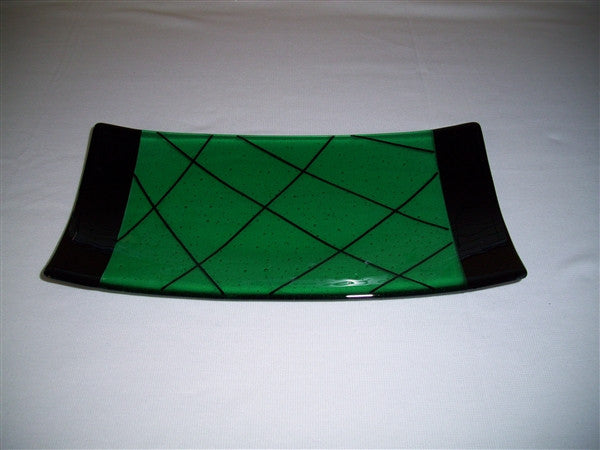 Flared Rectangular Plate - Bands & Stix - Emerald Ink