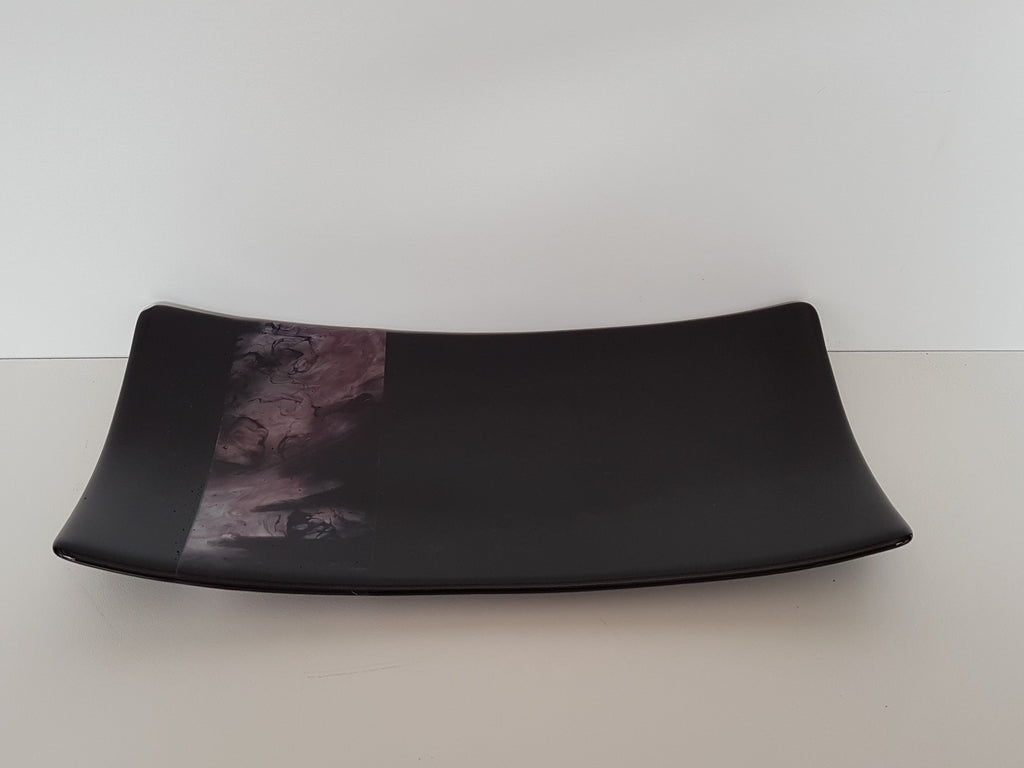Flared Rectangular Plate - Melt Feature - Satin Blackberry Ink