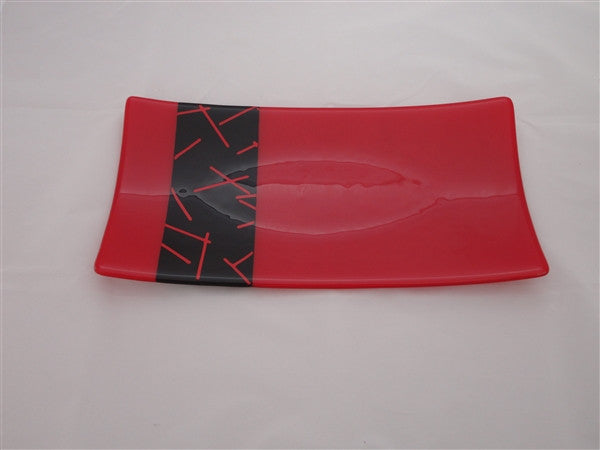 Flared Rectangular Plate - Matchstix - Red Opal Ink