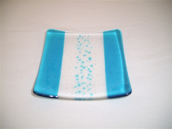 Flared Square Plate - 150 - Bands & Sprinkles - Pure Turquoise