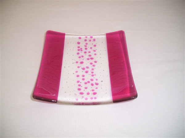 Flared Square Plate - 150 - Bands & Sprinkles - Pure Pink