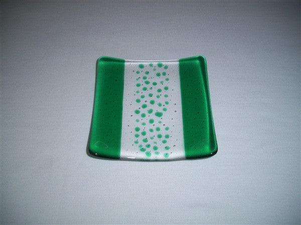 Flared Square Plate - 150 - Bands & Sprinkles - Pure Emerald