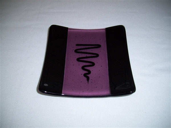 Flared Square Plate - 150 - Bands & Squiggle - Light Violet Ink