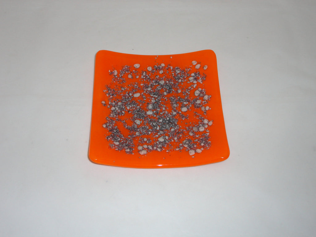 Flared Square Plate - 150 - River Rocks - Tangerine