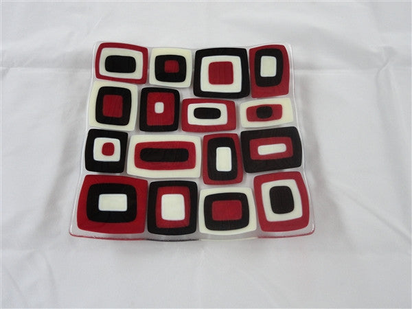 Flared Square Plate - 200 - Brenda - Deep Red Trio