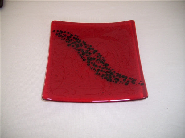 Flared Square Plate - 200 - Breeze - Red Ink