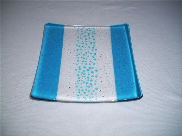 Flared Square Plate - 200 - Bands & Sprinkles - Pure Turquoise