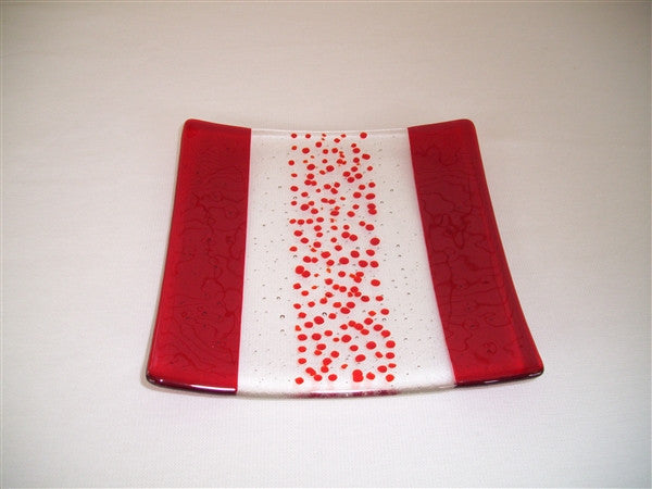 Flared Square Plate - 200 - Bands & Sprinkles - Pure Red