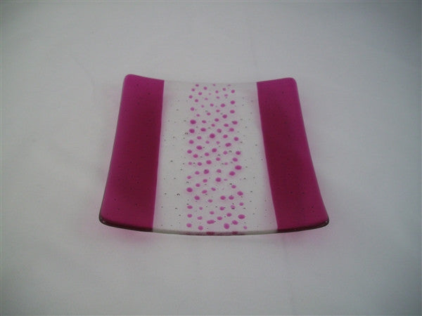 Flared Square Plate - 200 - Bands & Sprinkles - Pure Pink