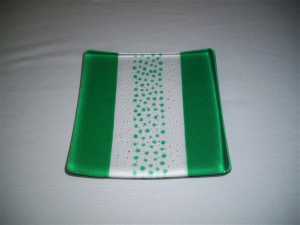 Flared Square Plate - 200 - Bands & Sprinkles - Pure Emerald