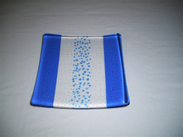 Flared Square Plate - 200 - Bands & Sprinkles - Pure True Blue