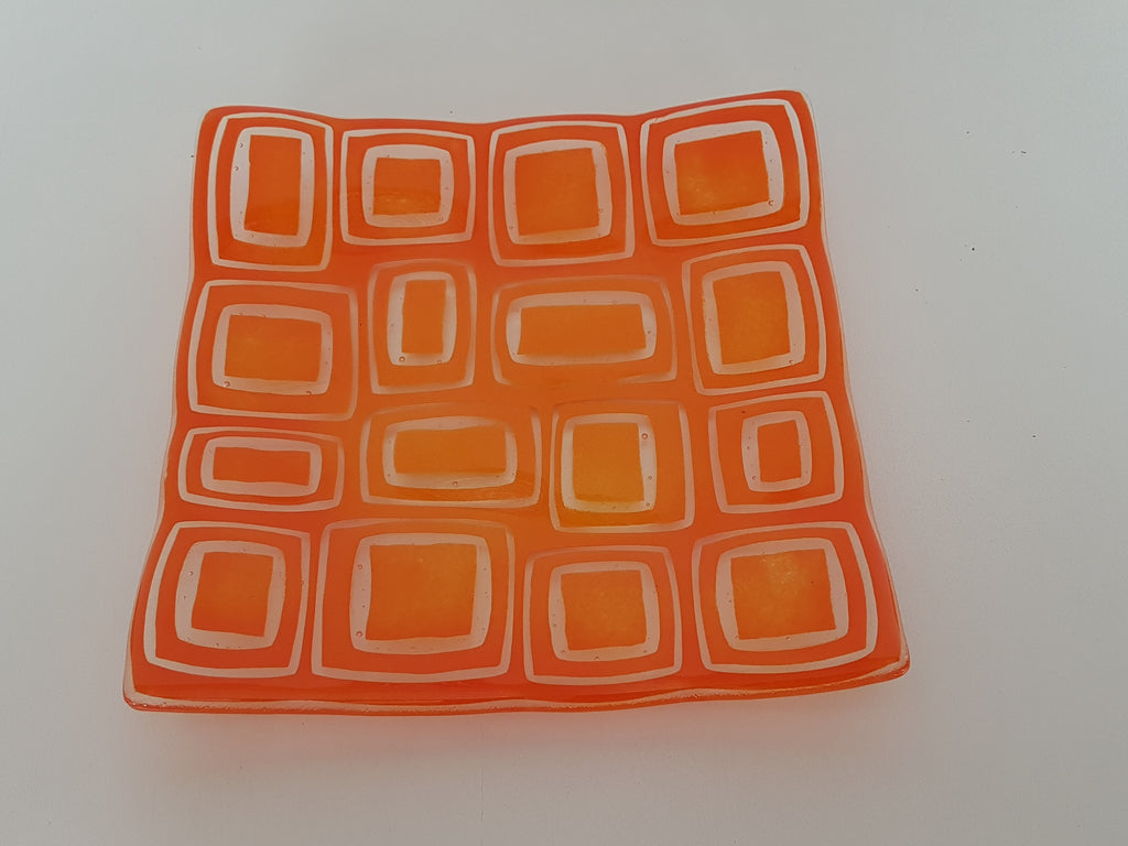 Flared Square Plate - 200 - Stacks - Fading Orange