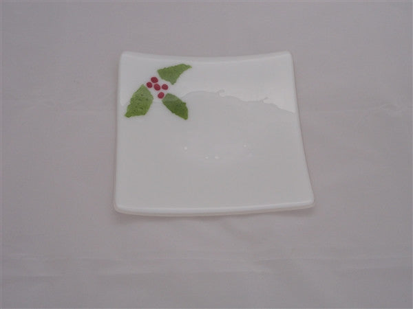 Flared Square Plate - 200 - Christmas Holly - Snow