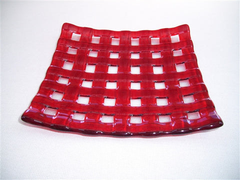 Flared Square Plate - 245 - Lattice - Pure Red