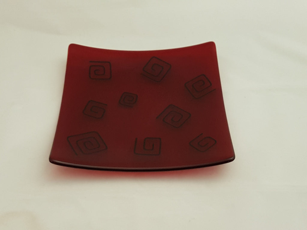 Flared Square Plate - 245 - Pinwheels - Red Ink
