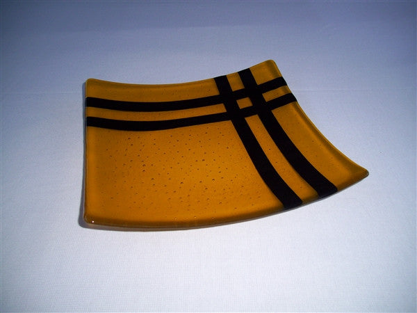 Flared Square Plate - 300  - Cross Roads - Marigold Ink