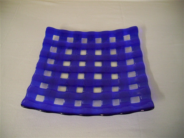 Flared Square Plate - 300  - Lattice - Pure Deep Blue