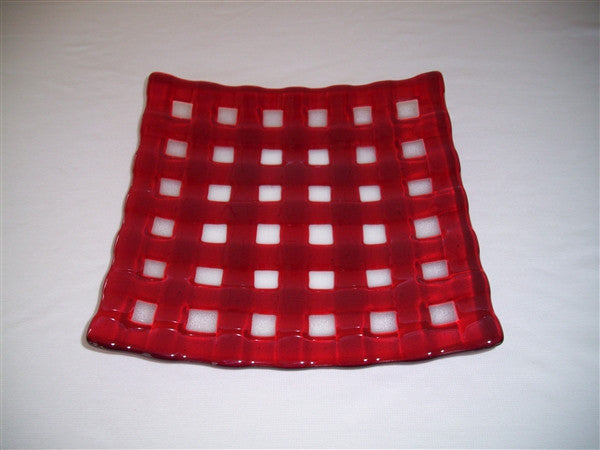 Flared Square Plate - 300  - Lattice - Pure Red