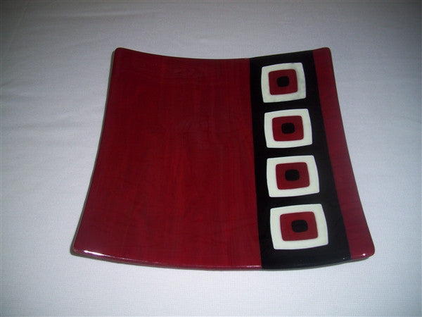 Flared Square Plate - 300  - Triple Peaks - Deep Red Trio