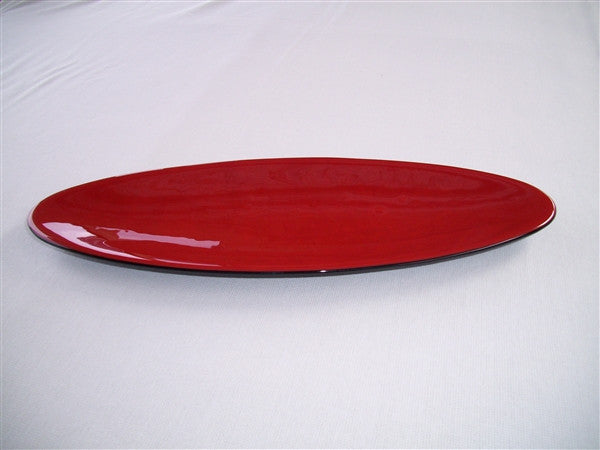 Long Oval Dish - Double Delight - Red Opal Ink
