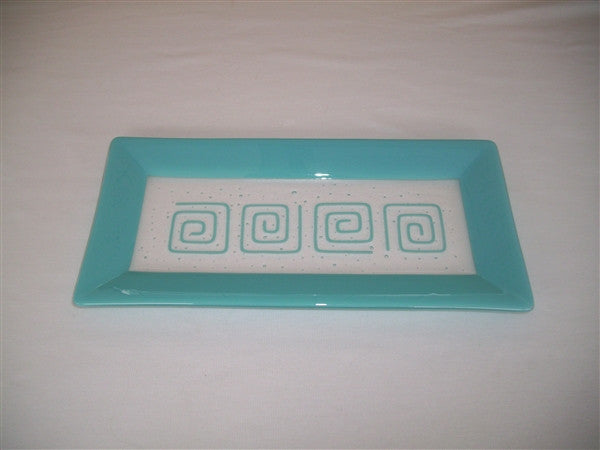 Rectangular Plate - Framed Pinwheels - Pure Turquoise Opal