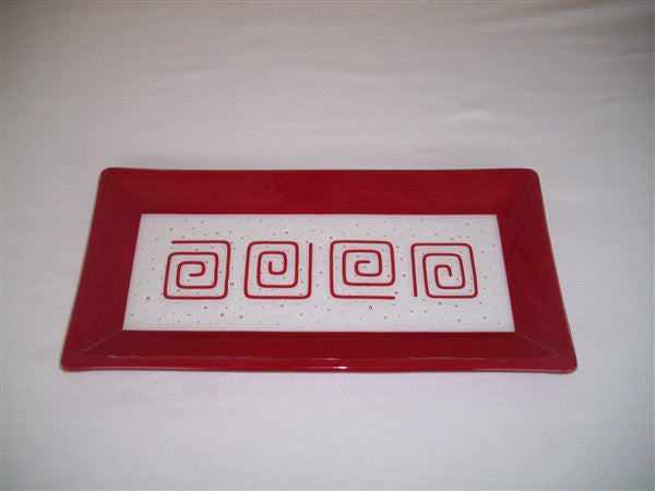 Rectangular Plate - Framed Pinwheels - Pure Red Opal