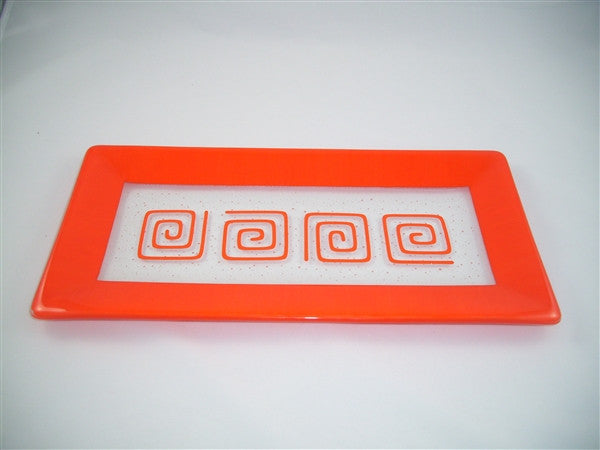 Rectangular Plate - Framed Pinwheels - Pure Orange Opal
