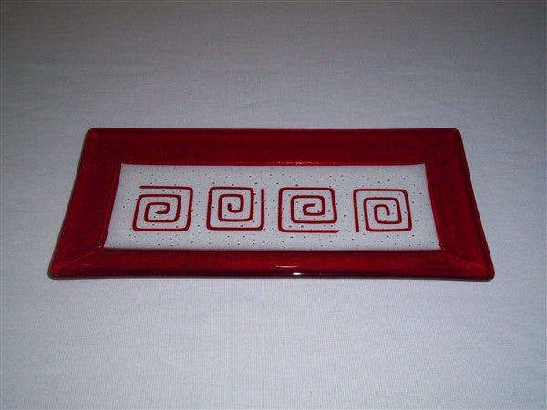 Rectangular Plate - Framed Pinwheels - Pure Red