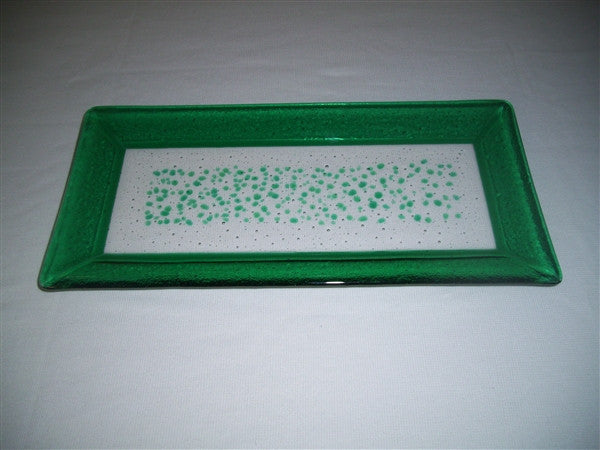 Rectangular Plate - Framed Sprinkles - Pure Emerald