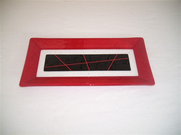 Rectangular Plate - Framed Stix - Pure Red Opal Ink
