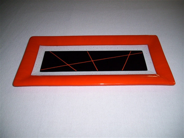 Rectangular Plate - Framed Stix - Pure Orange Opal Ink