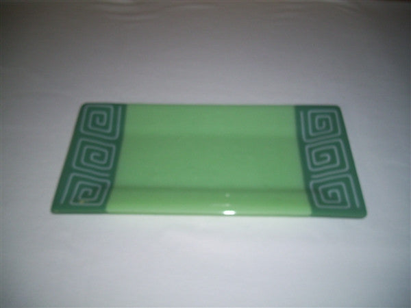Rectangular Plate - Pinwheel Bands - Mint Trio